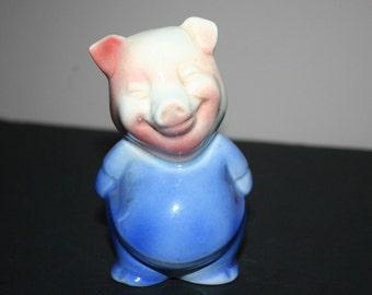 Vintage Pig Piggy Bank, Unmarked 1940's Pottery Pig Bank