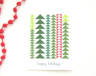 Happy Holidays Notecard - Evergreen Flying Geese Quilt Pattern