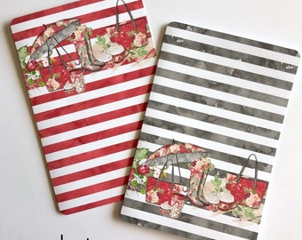 Red and Gray Rainy Day - Travelers Notebook Laminated Dashboards - Choose POCKET or B6 Size