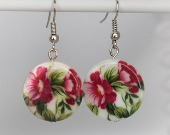 White Shell with Pink Flower Earrings