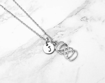 Personalized Infinity Necklace, Double Infinity, Engraved Necklace, Personalized Initial Necklace, Personalized Jewelry, Personalized Gift