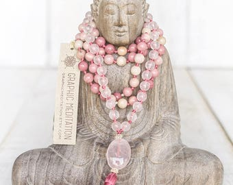 Rose quartz mala beads 108, Rhodonite necklace Yoga mala Crystal mala necklace Healing crystals and stones Rose quartz necklace Heart chakra