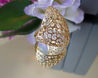 Gold Filled promise Ring handmade jewelry ,filigree ring  gold jewelry for women floral ring lace ring women jewelry