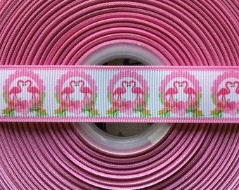 """7/8"""" Flamingo grosgrain ribbon, hair bow supplies, ribbon by the yard"""