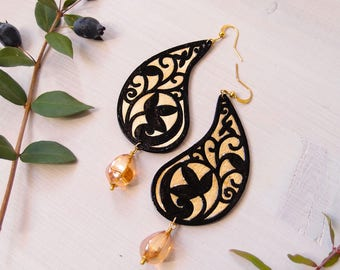 big dangle moorish earrings PAISLEY GOLD, hand carved paper earrings, lightweight earrings, long dangle paper earrings paisley design