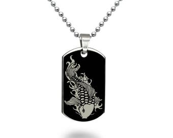 Koi Fish Jewelry, Personalized Engrave Stainless Steel Dog Tag Necklace with Koi Fish Design, Black Dog Tag Necklace SSN517