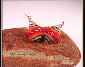 colours of the Australian Outback,bi-cones,sterling silver, Red,Orange