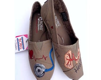 Painted BOBS Wide Width Painted Shoes Doctor Nurse BOBS Medical Theme TOMs BOBS Extra Wide Width Shoes Birthday Graduation Mother's Day Gift
