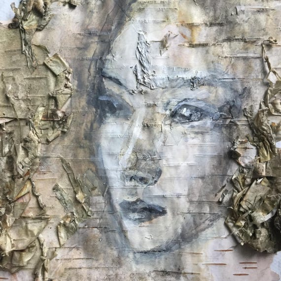 Every Lament is a Love Song Birch Bark Original Painting wall art Woodland Theme Art woman's face nature natural