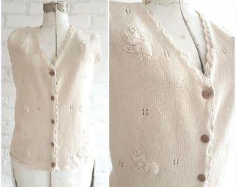 Vintage sweater Vest, Raw silk sweater vest, Sweater Vest women, Oatmeal, Cream