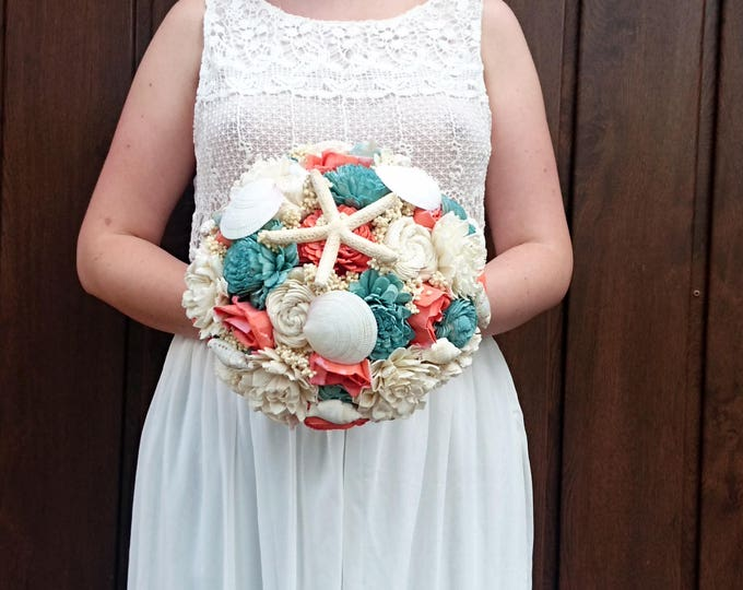 Large shell bouquet coral reef mint ivory rustic beach starfish summer wedding sola Flowers Burlap lace bridal