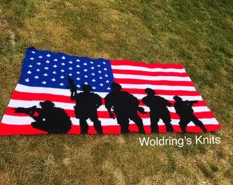 American Flag Crochet Afghan, American Solider Blanket, Crochet Flag Blanket, Flag and Solider Lap Blanket, Solider Silhouette Afghan
