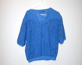 80's SKETCHY LINE PATTERN henley baggy short sleeve t-shirt