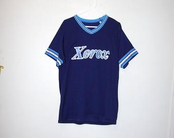 80's TEAM XEROX blue striped baseball jersey by wilson size large