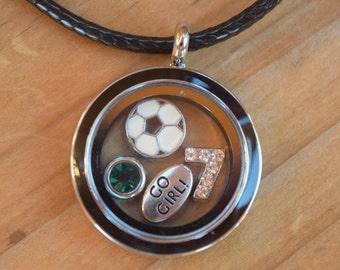 Soccer Necklace, Soccer Floating Locket, Soccer Necklace, Soccer Jewelry, Soccer Mom, Soccer Necklace, Soccer Gift, Soccer Girl Team Gift