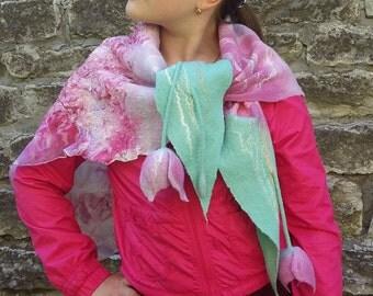 Mother's day gift Felt Wool Scarf Blush Pink Felt Scarf Nuno Wet felting Wrap Scarf felt Women scarf Tulips Merino wool Silk Organic wool