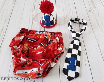 Boys Cars 1st Birthday, Boys Cars Cake Smash Outfit, Cars Diaper Cover Hat & Necktie Set, Cars Photo Prop, Lightning McQueen Birthday Set