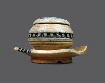Mid Century Ceramic Sugar Bowl Lidded Lid Beige Blue MCM Modern Decor Pottery Art Stoneware Sugarbowl