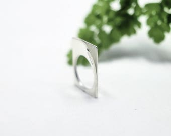 Geometric Ring | Rectangle Ring | Silver Rectangle Ring | Minimalist Ring | Geometric Jewelry | Statement Ring | Simple Ring | Minimal Ring