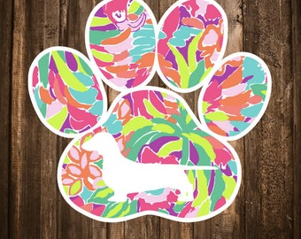 Lilly Pulitzer {inspired} Dog Paw Print Decal | Dog Mom Decal | Dog Mom Car Decal | Cat Mom Car Decal | Cat Paw Decal | Dog Paw
