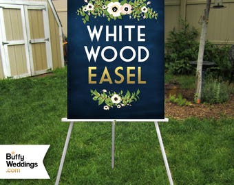 WHITE Easel Wood 5ft Floor Display Large Wedding Sign Stand . Chalkboard Lightweight Foam Board Canvas Wood up to 30 x 40in . Hand Painted