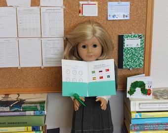 Accurate AG scale! School Supply Accessories Set American Girl 18 inch Dolls Mini Worksheet Award Chore Chart Math Logan Everett Eric Carle