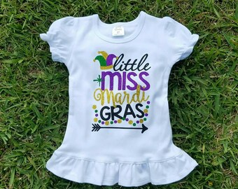 Girls Mardi Gras Shirt - Little Miss Mardi Gras - Cute Mardi Gras Shirt - Girls Mardi Gras Shirt - Mardi Gras Parade - Kids Mardi Gras