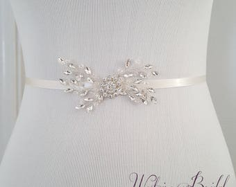 Cystal Wedding Belt, Silver Bridal Sash, Beaded Wedding Belt, Silver Crystal, Bridesmaid Belt - Style 794