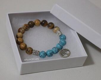 Wagnerite and Picture Jasper stretch bracelet