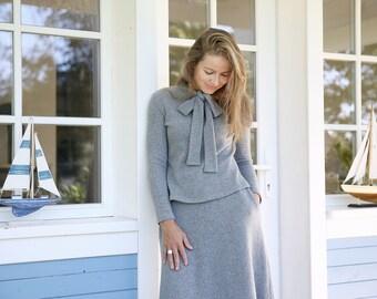 Merino Wool Skirt | Women Skirt | Wool Skirt | Grey Skirt | Minimal Skirt | Skirt With Pockets | Elastic Waist | Knee Length Skirt