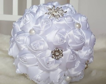 Large Classic Satin Bouquet / Wedding Bouquet / Artificial Bouquet / Artificial Wedding Bouquet / Flowers for Weddings / Brides Bouquet/