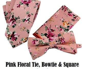 "Wedding Tie Pink Floral Tie with Pocket Square Pink White Bowtie Necktie Bow Tie Groomsmen Ties Groomsman Best Man Groom Usher 2.4"""