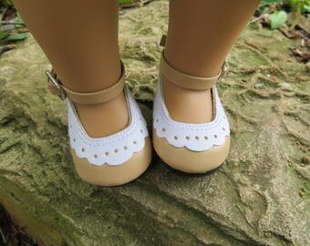 "Cute Tan 18"" Doll shoes, Fits American girl dolls"