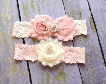 Ivory Lace Garter Set, Wedding Garter, Toss Garter, Lace Garter, Bridal Garter, Garter, Dusty Rose, Vintage, Pearl Garter