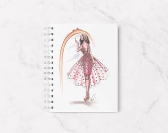 Fashion notebook, Girly notebook, Cute notebook, Fashion illustration, Chic notebook, Cute notebooks, Illustrated notebook, Spiral notebook