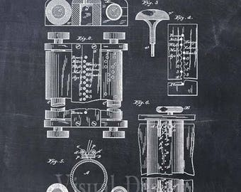 First Computer Patent Print in 1889 - Patent Art Print - Patent Poster - Computer Art - Computer Gift