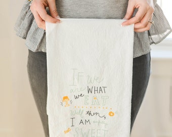 Flour Sack Towel, Sweet Tooth Gifts, Dessert Towel, Tea Towel, Dish Towel, Kitchen Towels, Gift for Her, Gift for Mom, Gift Under 20