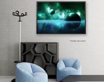 Framed Green and Blue Space Poster Art, Framed Universe Art Poster