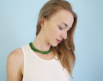 Vintage Multi-Strand Green Beaded Necklace/Choker