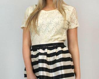 Vintage 90s Keds Black White Striped Shiny Bubble Mini Skirt