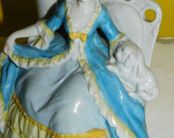 Porcelain Victorian Figurine Lamp Woman Holding Dog Vintage Shabby Chic Vanity  Germany