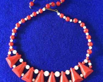 1960s Red And White Plastic West German Necklace
