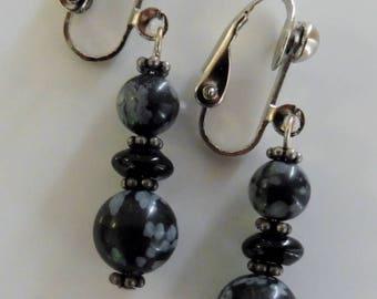 Clip on earrings-black earrings-gemstone earrings-semiprecious earrings-silver-handcrafted-one-off-snowflake obsidian