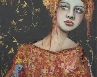 "Fine art print on Giclee paper 8"" x 10"" ready to frame ""Dans ma vie"" Ma Cosette, mon coeur"" Portrait by Deborah Bowe DCBArtstudio"