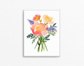 Floral print / flower prints / flower bouquet / flower painting / flower watercolor print / flower watercolor painting / watercolor painting