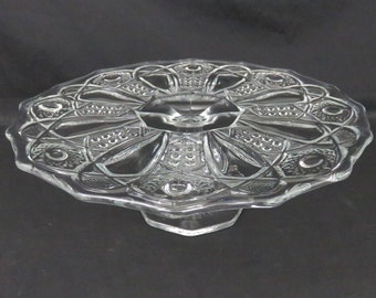 Vintage Clear Pressed Glass Round McKee Quintec Cake Stand / Cake Plate - Cane and Star EAPG Cake Pedestal