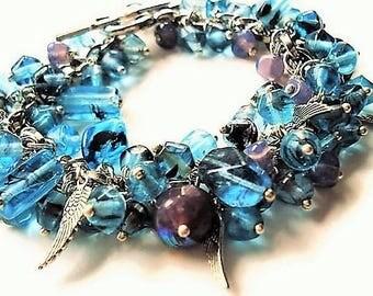 Blue Bracelet Glass Jewelry Boho Bracelet Statement Jewelry Charm Bracelet Blue Jewelry Silver Bracelet Bead Jewelry Everyday Bracelet Gift