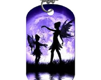 Purple Fairies -- Dog Tag Pendant Necklace