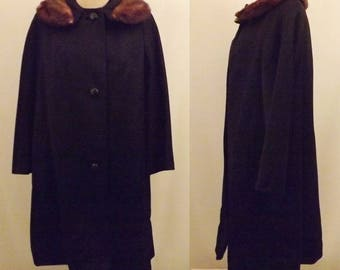 50s Women's Black Mink Fur Trimmed Top Coat  Size XL