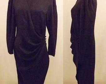 Designer Adrianna Papell Black Silk Brocade Wrap Evening Dress Size 8